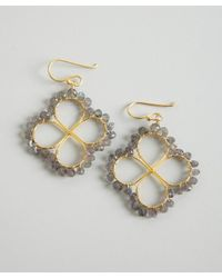 Wendy Mink - Metallic Gold and Labrodorite Bead Four Leaf Clover Earrings - Lyst