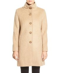 DKNY | White Brushed Stand Collar Coat | Lyst