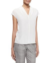 ESCADA - White V-neck Cap-sleeve Silk Shell - Lyst