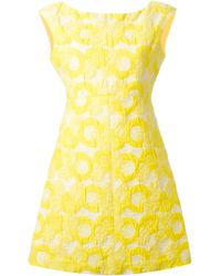 Tory Burch - Yellow Floral Embroidered Dress - Lyst
