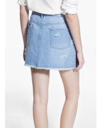 Mango Blue Light Denim Skirt