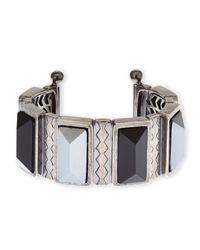 Rebecca Minkoff | Blue Silver-Tone & Black Cuff Bracelet | Lyst