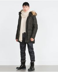 Zara | Green Quilted Parka for Men | Lyst