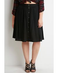 Forever 21 - Black Plus Size Buttoned A-line Skirt - Lyst