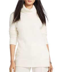 Lauren by Ralph Lauren | Natural Wool-cashmere Turtleneck Sweater | Lyst