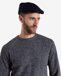 Ted Baker | Blue Wool Herringbone Flat Cap for Men | Lyst