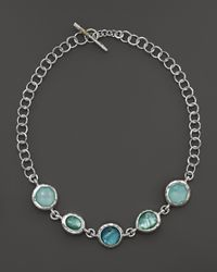 Ippolita Metallic Sterling Silver Wonderland Large Multi Shape 5 Stone Necklace In Tahiti, 18""
