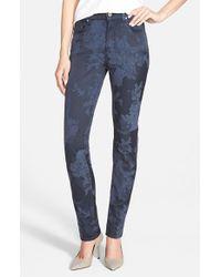 Jen7 Blue Floral Jacquard Skinny Pants