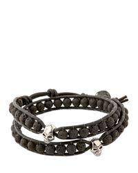 Colana - Black Leather Wrap Bracelet With Lava for Men - Lyst