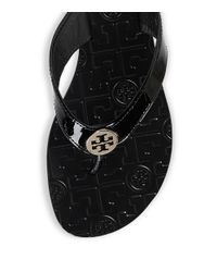 Tory Burch - Black Thora Patent Leather Thong Sandal - Lyst