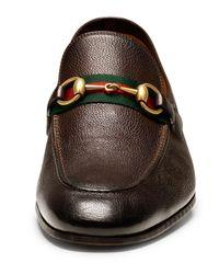 Gucci - Brown Elanor Leather Horsebit Loafer for Men - Lyst