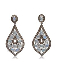 Bavna | White Sterling Silver Pave Diamonds And Moonstone Earring | Lyst