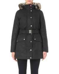 Barbour Blue Kirby Waxed Coat, Women's, Size: 10, Navy