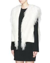 Helmut Lang White Mongolian Fur Fringe Vest