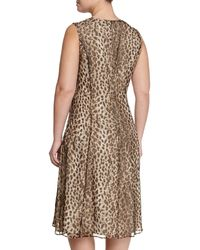Marina Rinaldi - Multicolor Animal-print Dress W/ Attachable Sleeves - Lyst