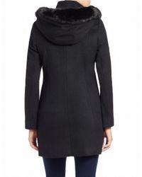 T Tahari | Black Faux-fur Trimmed Coat | Lyst