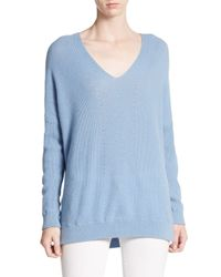 VINCE | Blue Cashmere V-neck Sweater | Lyst