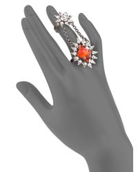 DANNIJO | Red Nicola Crystal Chain Statement Ring | Lyst