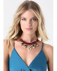 Bebe - Multicolor Velvet & Crystal Necklace - Lyst