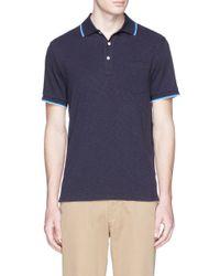 J.Crew Blue Slim Tipped Polo Shirt for men