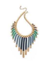 Adia Kibur | Beaded Fringe Necklace Blue Multi | Lyst