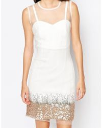 Key Collections White Ashley Roberts For Mist Dress With Sequin Trim