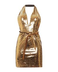 Moschino | Metallic Dry Clean Only Sequin Halter Dress | Lyst