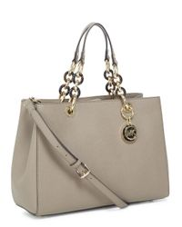 Michael Kors Natural Cynthia Taupe Saffiano Leather Tote