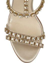 Oscar de la Renta Metallic Simona Crystal-embellished Satin Sandals
