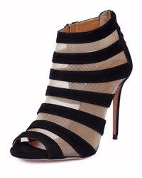 Aquazzura Black Wild Side Suede and Mesh Sandals