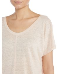 Part Two - Natural Soft Feminine Neck Linen Top - Lyst