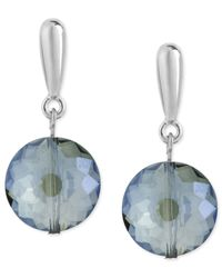 Kenneth Cole | Metallic Silver-tone Faceted Round Bead Drop Earrings | Lyst