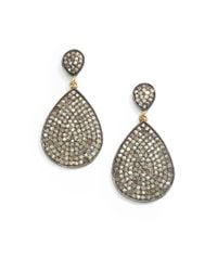 Bavna - Metallic 2.88 Tcw Diamond, Sterling Silver & 18K Yellow Gold Teardrop Earrings - Lyst