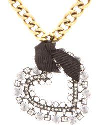Lanvin - Metallic Crystal Heart Pendant Necklace - Lyst
