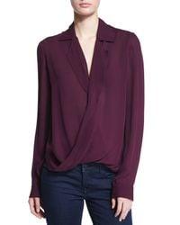 L'Agence - Purple Rita Long-sleeve Silk Blouse - Lyst