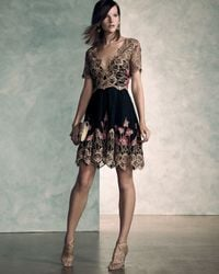 Notte by Marchesa - Black Short-sleeve Embroidered Tulle Cocktail Dress - Lyst