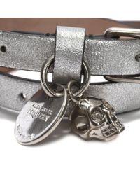 Alexander McQueen Metallic Leather Double Wrap Skull Bracelet