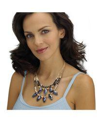 Palmbeach Jewelry - Metallic Marquise-cut Black Aurora Borealist Crystal Multi-strand Gold Tone Statement Necklace 18'' - Lyst
