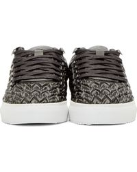 Filling Pieces Black Leather Quilted Oval Sneakers