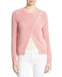 Rebecca Taylor | Red Crossover Cotton Sweater | Lyst