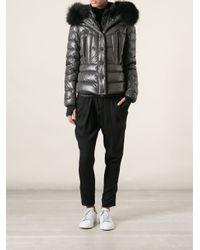 Moncler Grenoble Gray 'Bever' Detachable Racoon Fur Trim Collar Coat