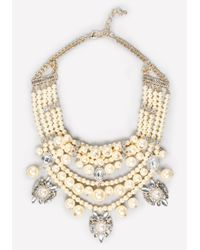Bebe White Pearlescent Bib Necklace