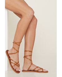 Forever 21 | Brown Crisscross Faux Leather Sandals | Lyst