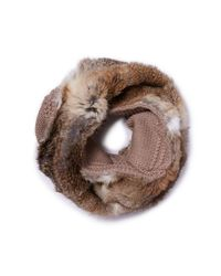 Tory Burch | Brown Large Cable-knit Fur Infinity Scarf | Lyst