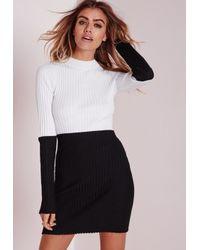 Missguided - Colour Block Turtle Neck Mini Dress Black/white - Lyst