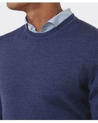 BOSS - Blue Merino Wool Bagritte-e Jumper for Men - Lyst