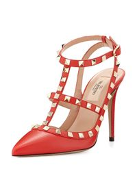 Valentino - Red Rockstud Leather Pumps - Lyst