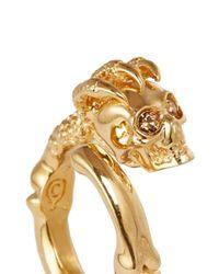 Alexander McQueen Metallic Skull Claw Ring