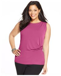 Jones New York - Purple Collection Plus Size Draped Shell - Lyst