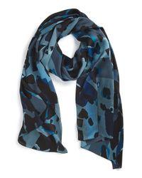Burberry Blue Animal Print Check Silk Scarf